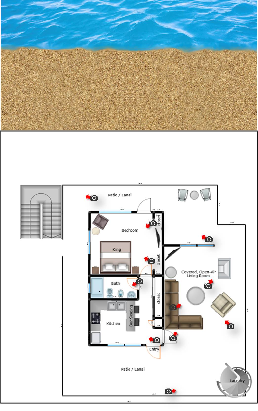 Top Unit: Floorplan & Photos